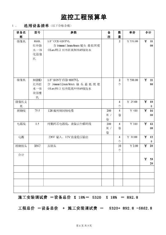 工程报价表_某监控工程设备清单报价表(附合同)