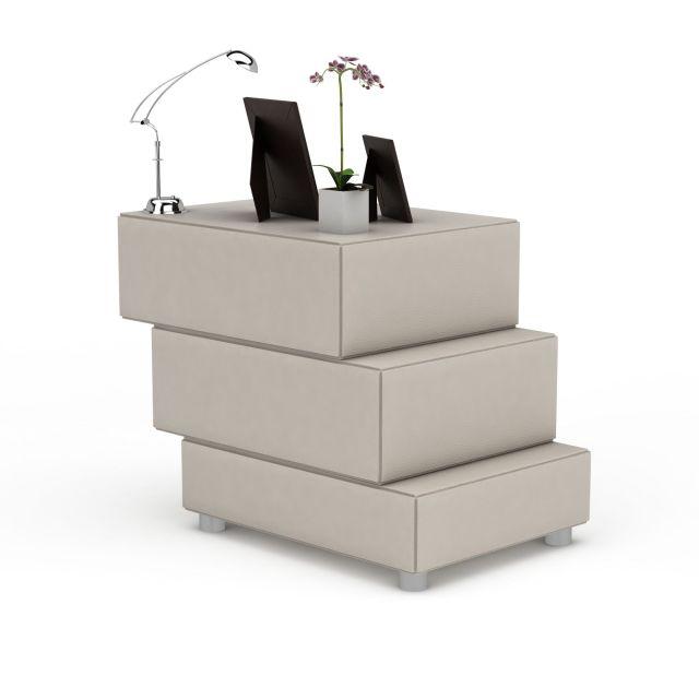 中式创意阶梯床头柜3D模型下载-图3
