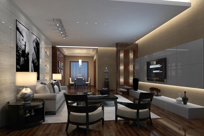 现代简约客厅、餐厅、电视背景墙3D模型下载-图2