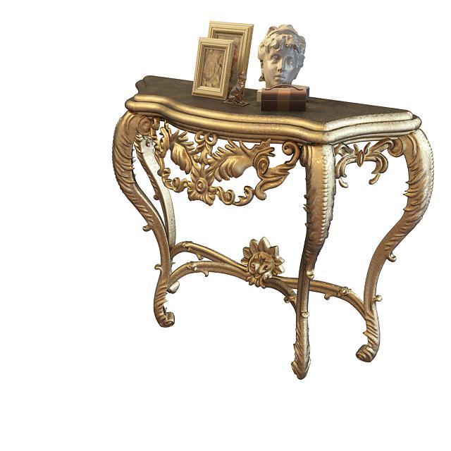 欧式雕花玄关桌3d模型下载