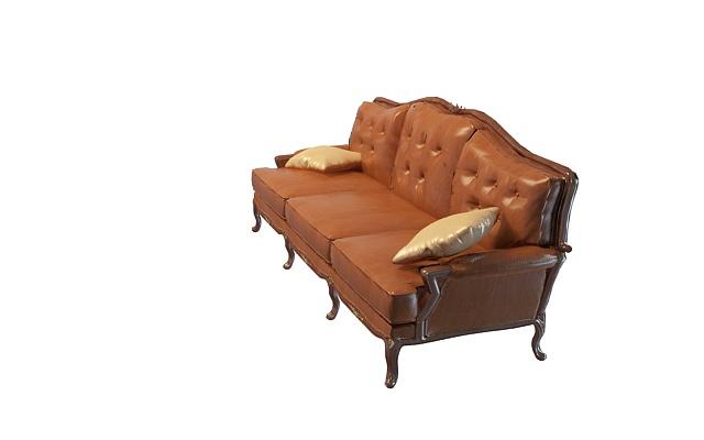 欧式皮革沙发3d模型下载-图3