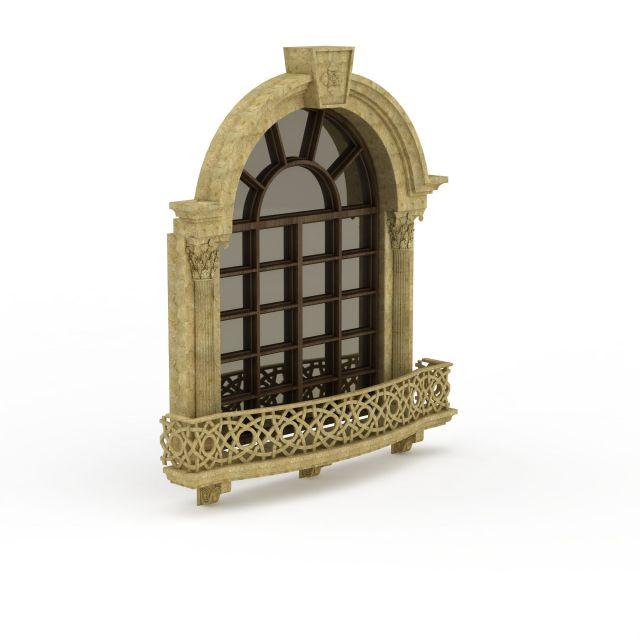 欧式户外玻璃窗3d模型下载