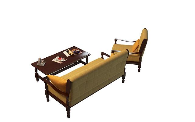 红木布艺沙发茶几3d模型下载-图2