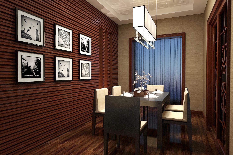 现代简约客厅、餐厅、电视背景墙3D模型下载-图1