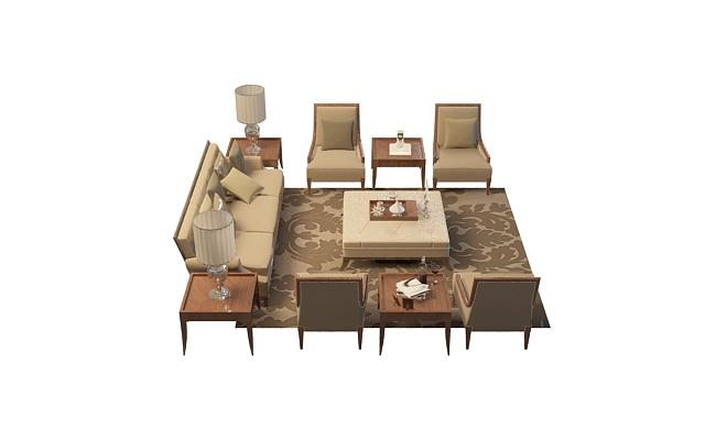 欧式客厅沙发3d模型下载-图1