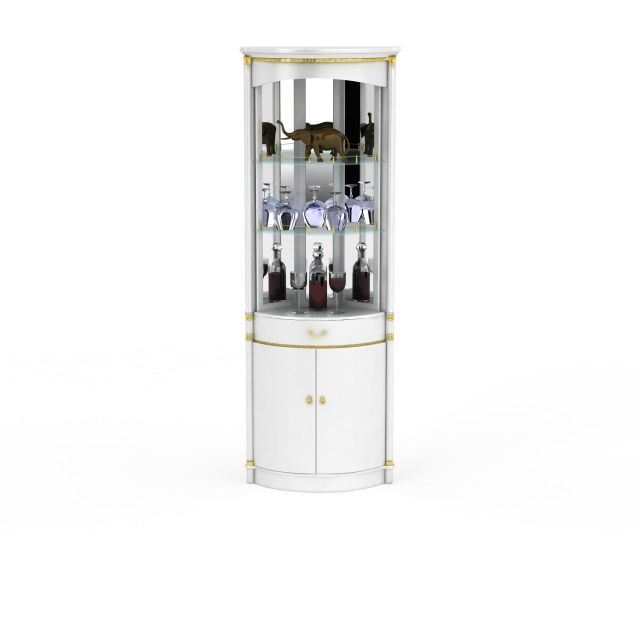 高档圆形酒柜3d模型下载-图1