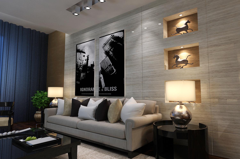 现代简约客厅、餐厅、电视背景墙3D模型下载-图3