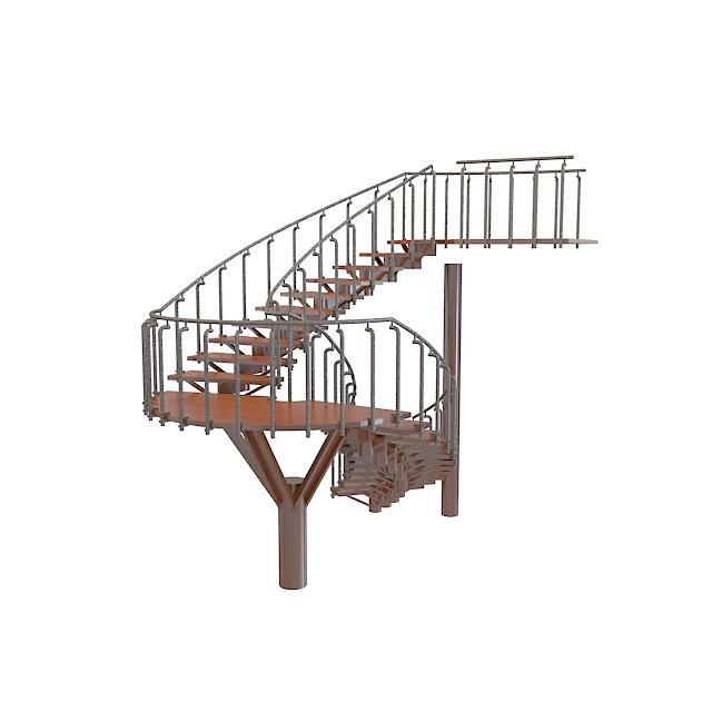 木头楼梯3d模型下载-图1