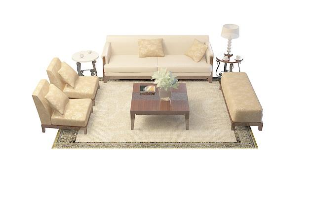 简约沙发茶几3d模型下载 - 3d模型素材,模型下载