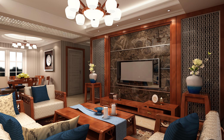新中式客餐厅3d模型下载-图1图片