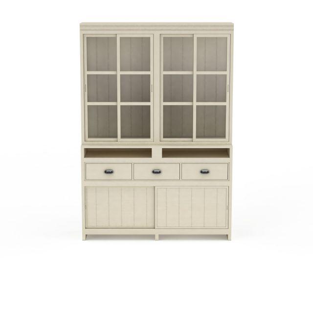 现代书房简易双开门柜子储物柜3D模型下载-图1
