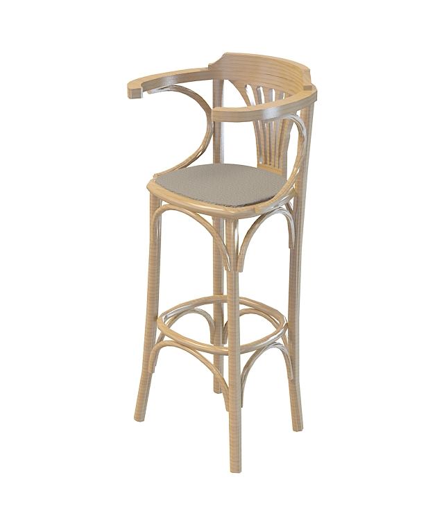 高脚实木吧椅3d模型下载-图2