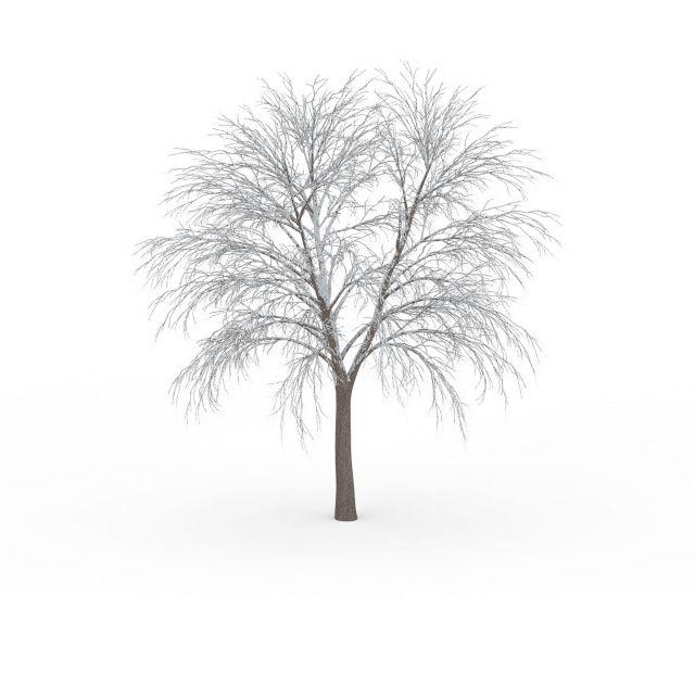 冬天挂雪树木3d模型下载