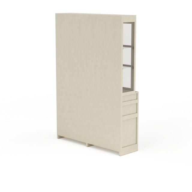 现代书房简易双开门柜子储物柜3D模型下载-图3