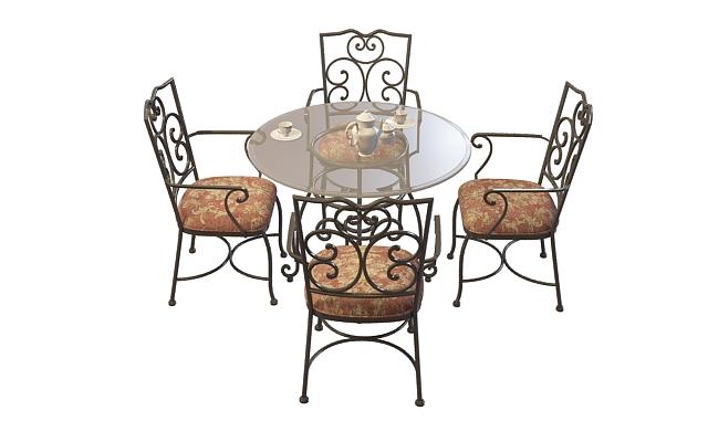 欧式铁艺桌椅组合3d模型下载