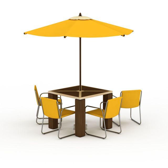 咖啡店户外休闲桌椅3d模型下载