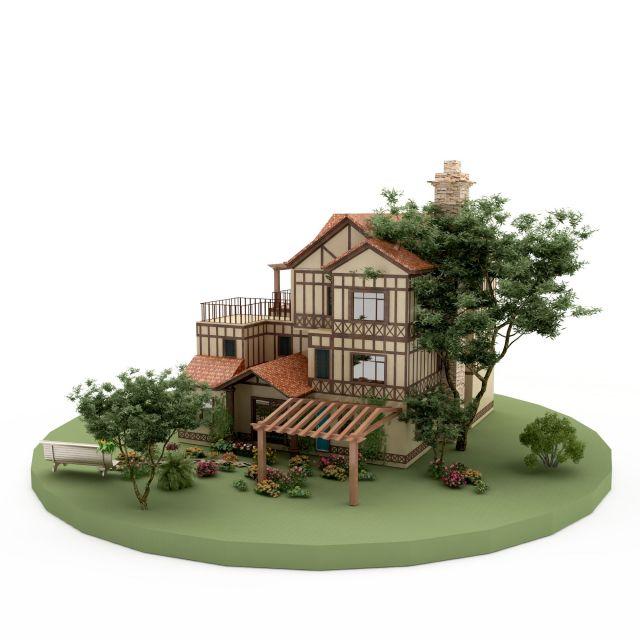 小区景观小景3d模型下载