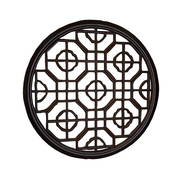 圆形中式窗户3d模型下载