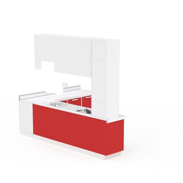 红色L形整体橱柜组合3D模型下载-图1