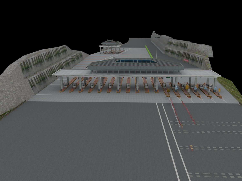 高速公路收费站3D模型下载-图1