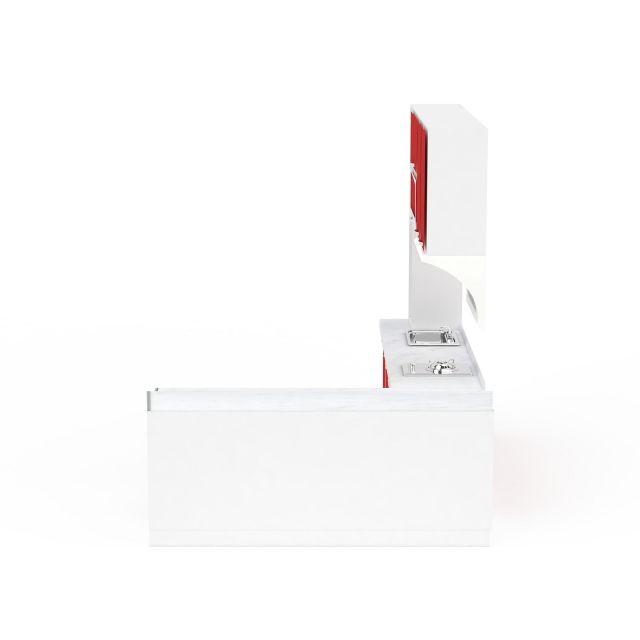 红色L形整体橱柜组合3D模型下载-图2