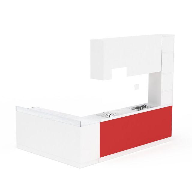 红色L形整体橱柜组合3D模型下载-图3