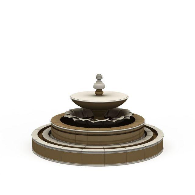欧式喷泉3d模型下载-图3
