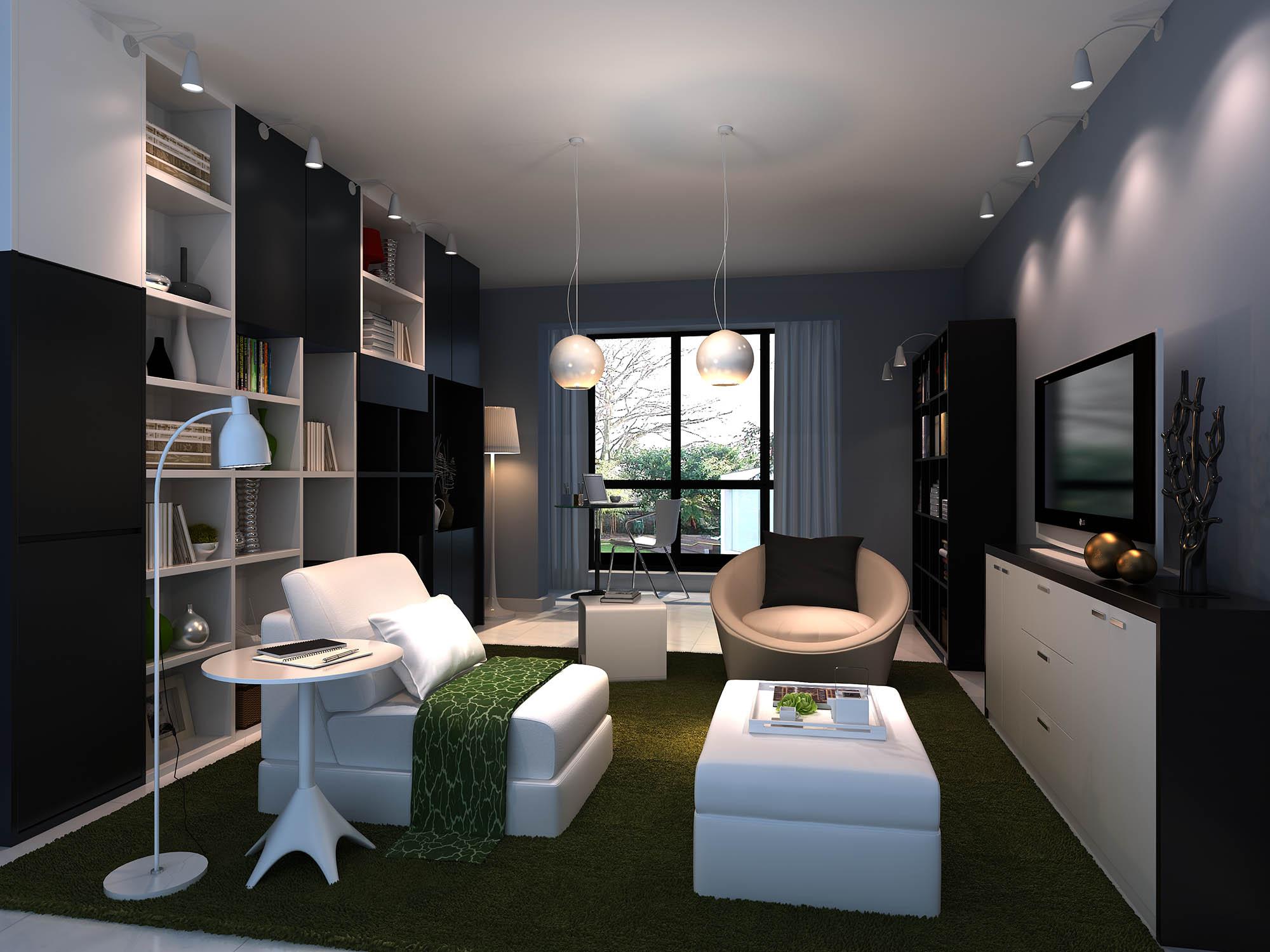 蓝色墙面现代客厅3d模型下载