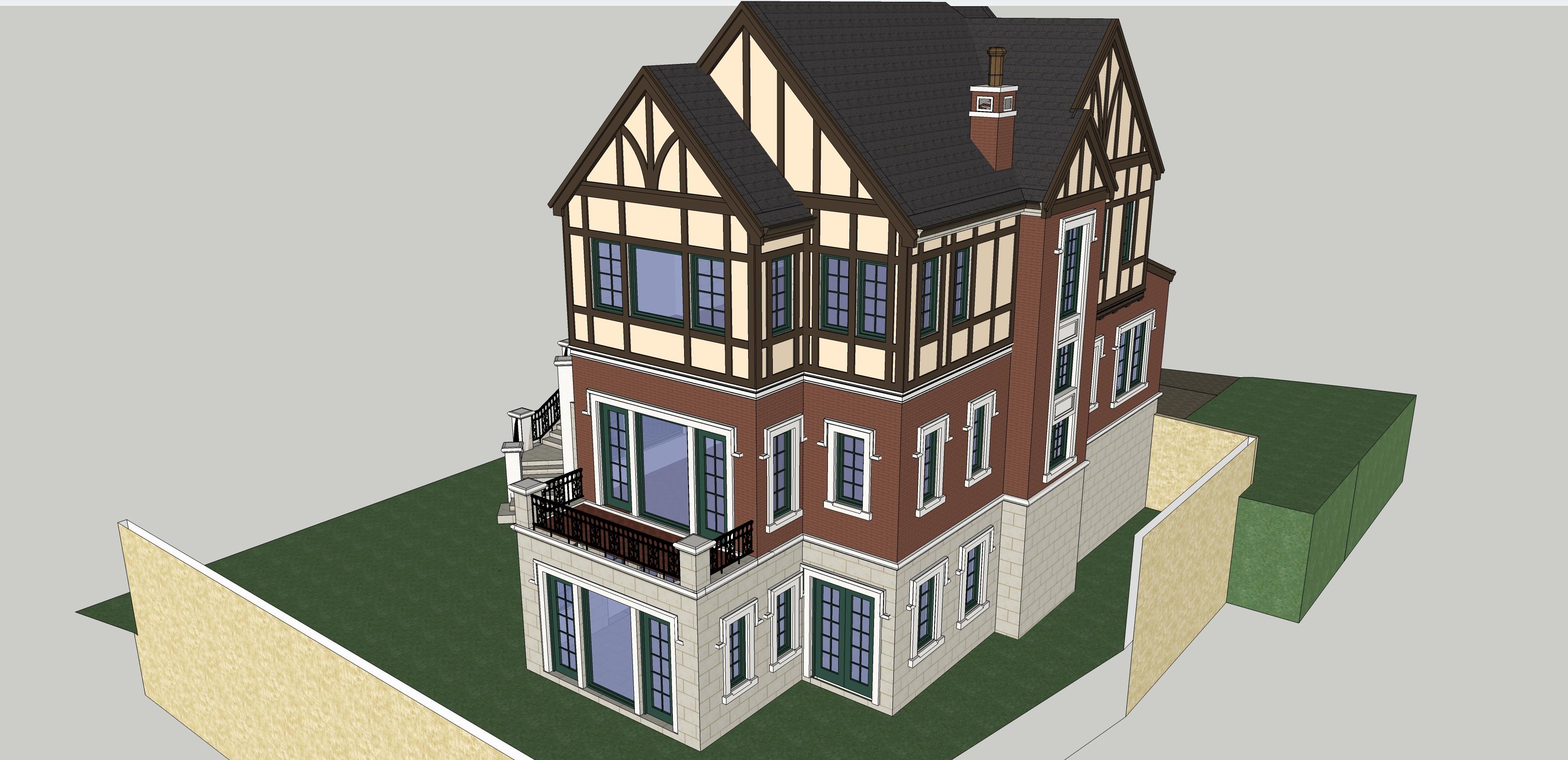 别墅建筑效果图-图2