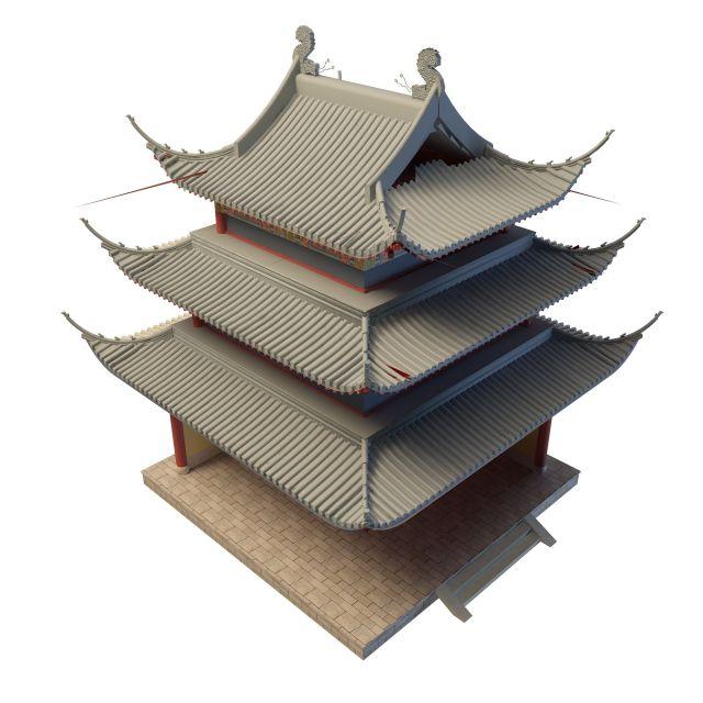 古建塔楼3d模型下载