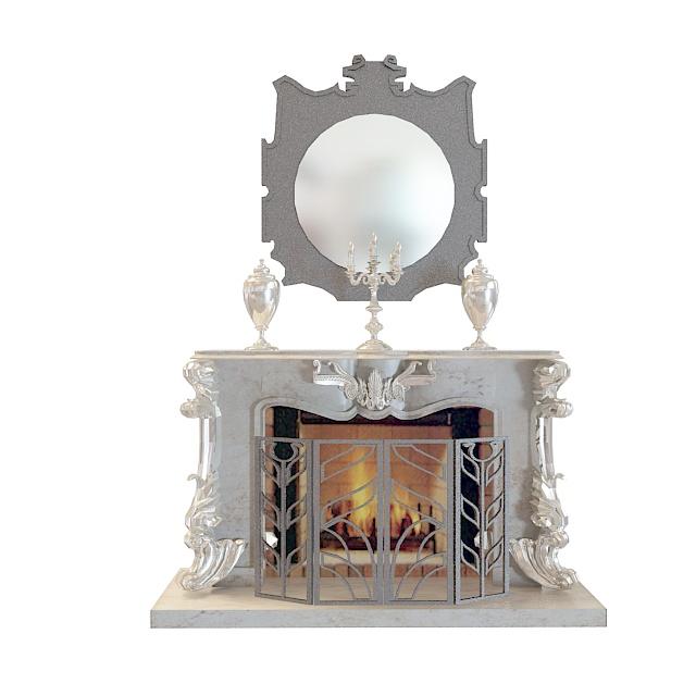 精美欧式烛台壁炉3d模型下载-图1