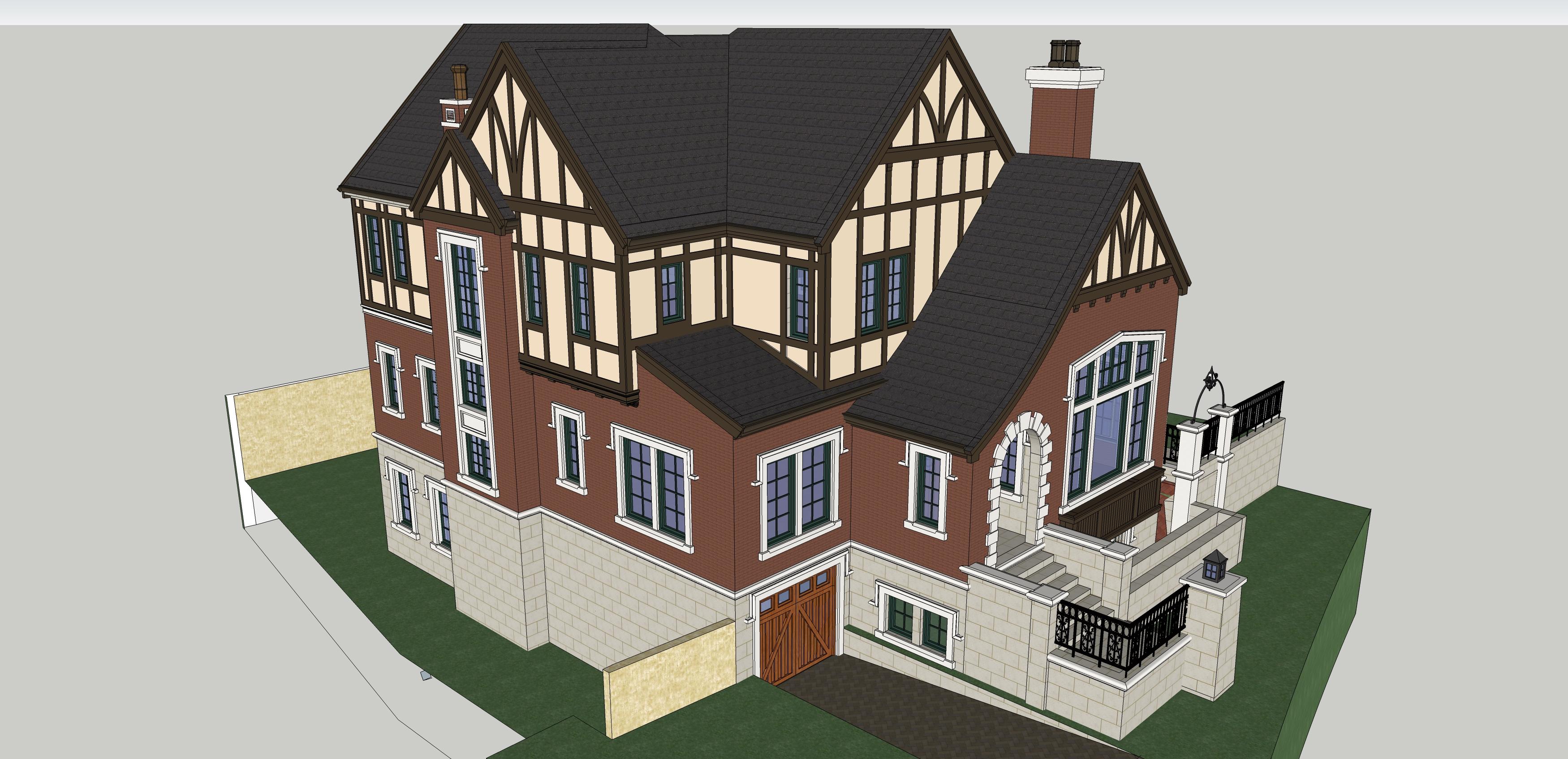 别墅建筑效果图-图3