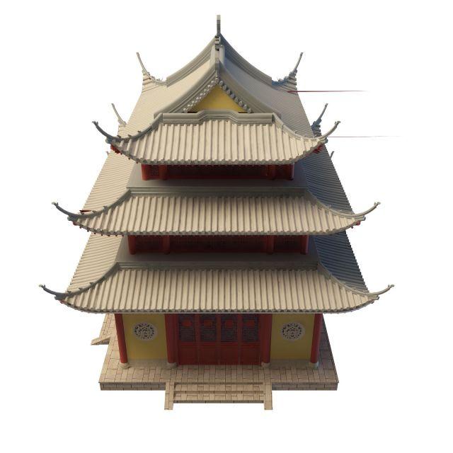 古建塔楼3d模型下载-图1
