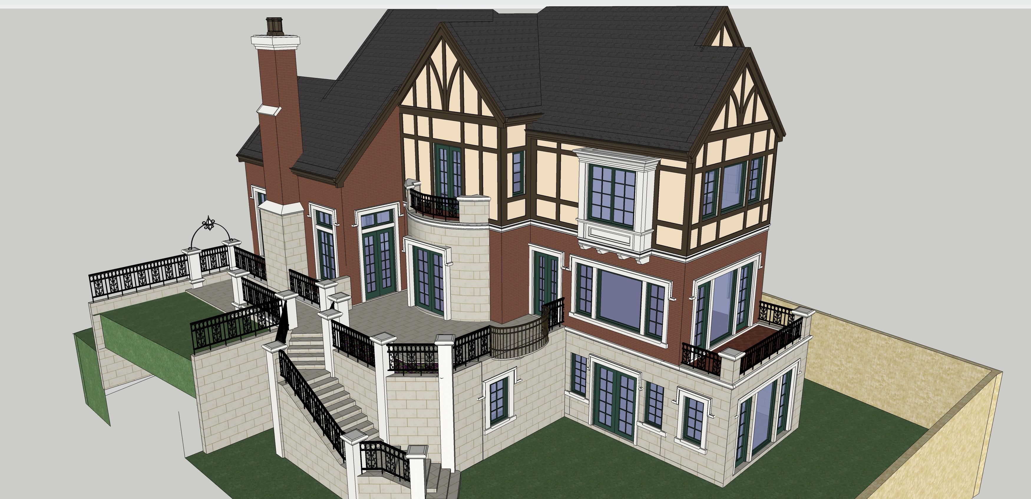 别墅建筑效果图-图1