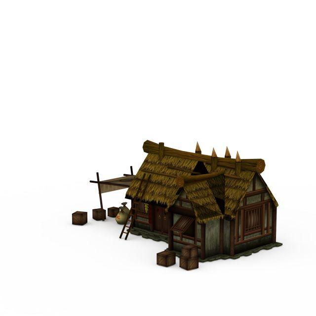 茅草房3d模型下载