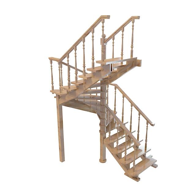 欧式木结构栏杆3d模型下载