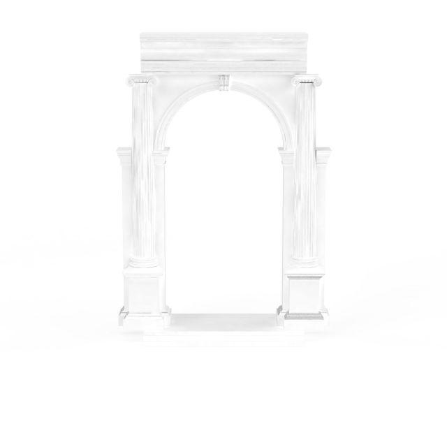 白色欧式建筑构件3d模型下载-图1