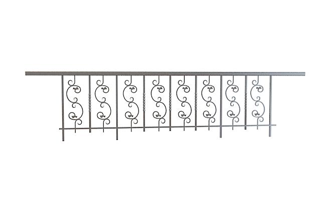 欧式铁艺栏杆3d模型下载