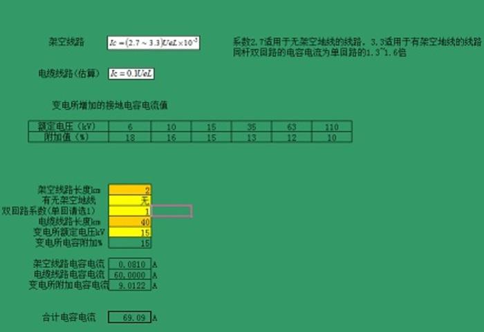 变电站接地电容电流估算