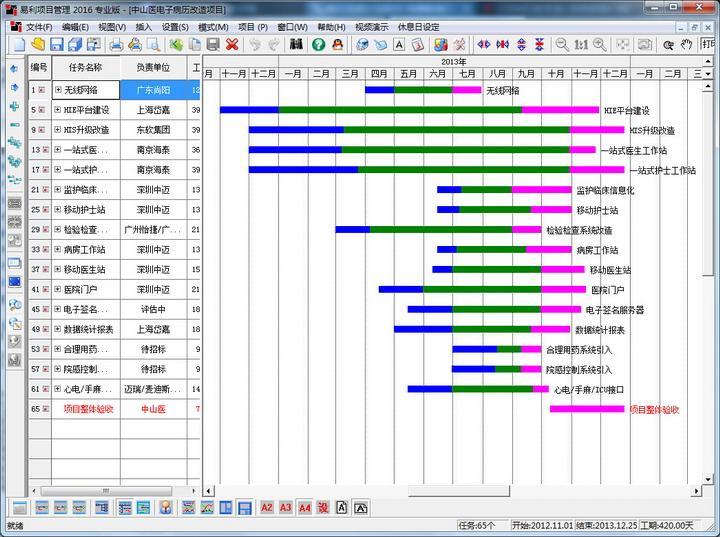 易利施工进度计划横道图软件图片