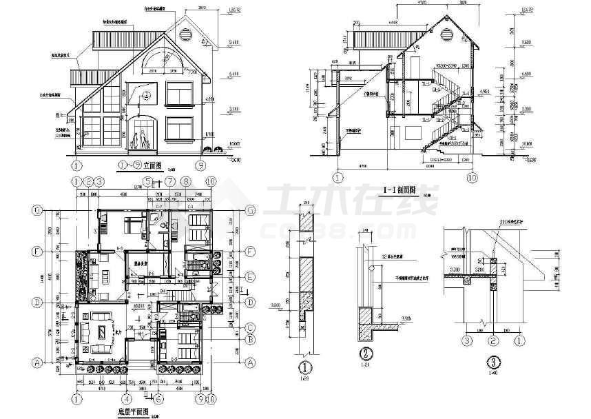 三层桩基础别墅建筑,结构设计方案图下载-土木在线