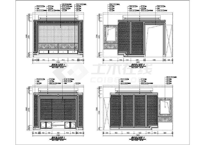 精品中式韵味三层别墅样板房室内设计装修施工图-图2
