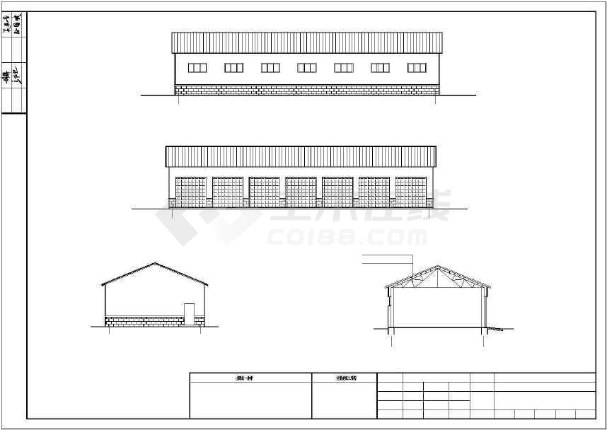 单层钢结构小汽车库建筑 ,结构施工图