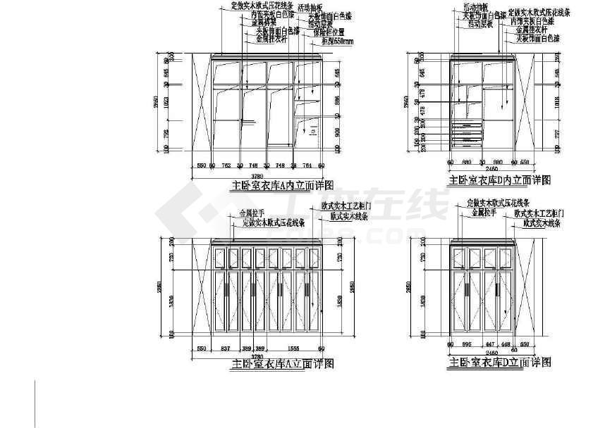 欧式风格两层别墅装修全套施工图(含水电说明)