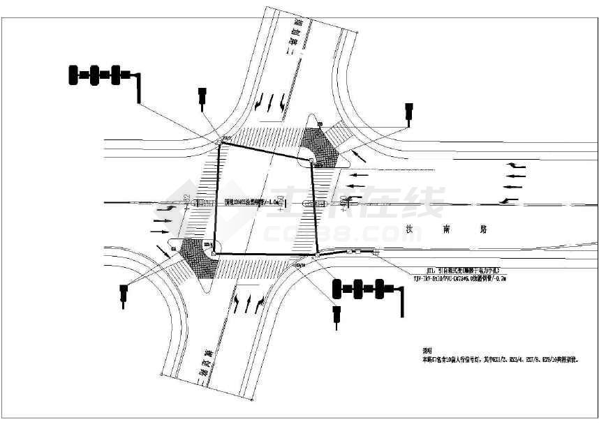 【湖北】城市次干道道路交通信号灯施工图设计19张图片
