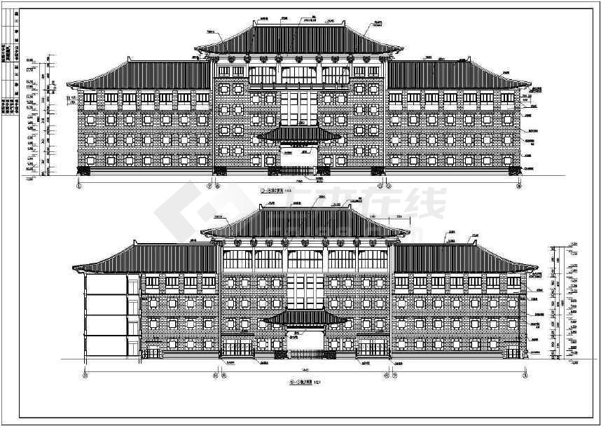 四层仿古建筑中学教学楼建筑设计施工图图片
