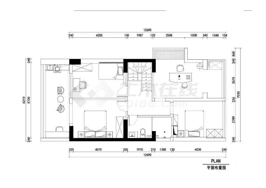 美式二层别墅样板房装修设计施工cad图纸(附效果图)