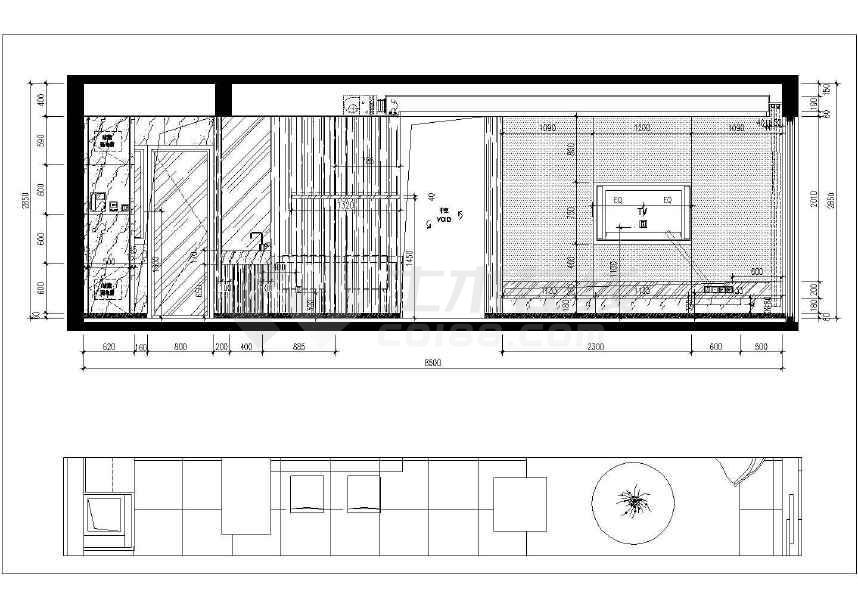 现代两室一厅室内装修施工图 附效果图高清图片