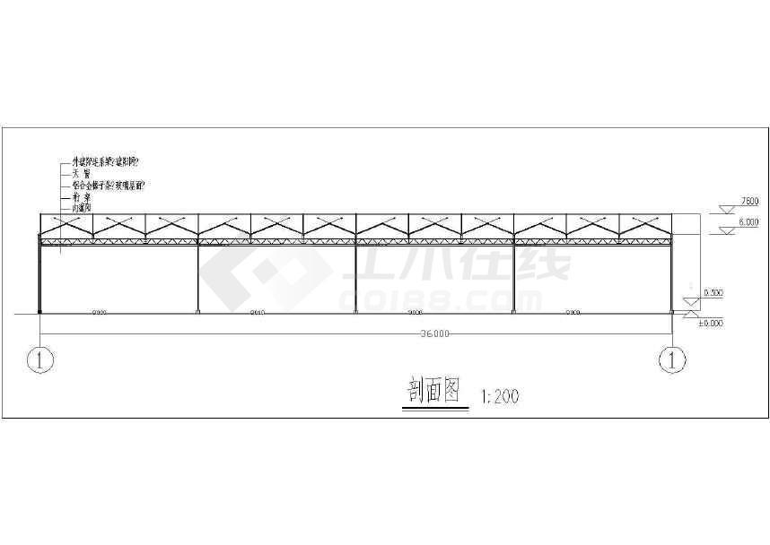 图纸 建筑结构图  钢结构图纸  钢框架结构  3米跨度玻璃温室大棚示意