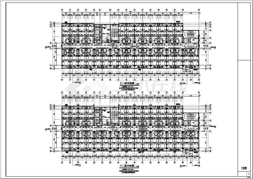 某大学高层框架结构宿舍楼建筑施工图